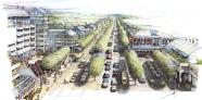 Thiết kế đô thị là kiến tạo nơi chốn. Bản vẽ minh họa của dự án Thiết kế tái thiết khu Forest Lawn – Giải thưởng New Urbanism Charter Award 2006