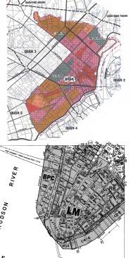 Bản đồ quy hoạch sử dụng đất Quận 1, thành phố Hồ Chí Minh và bản đồ zoning cho khu vực Hạ Mahattan, New York. Nguồn: Sở QHKT Tp. Hồ Chí Minh & New York City's Department of City Planning
