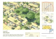 Cách bố trí B: Phát triển xung quanh một quảng trường trung tâm Mô hình này phù hợp với những địa hình đô thị bằng phẳng. Nhà ở bao gồm có 2 kiểu: một căn nhà gỗ nhỏ và module phụ có thêm 2 buồng ngủ. Chúng có thể sử dụng cho một hộ gia đình. Một cộng đồng trong bán kính đi bộ một phút có theo mô hình này có thể cung cấp  552 giường với mật độ 18 đơn vị nhà/hecta