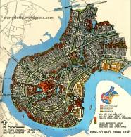 Bản đồ minh họa quy hoạch Thủ Thiêm của WBE năm 1972 (b).