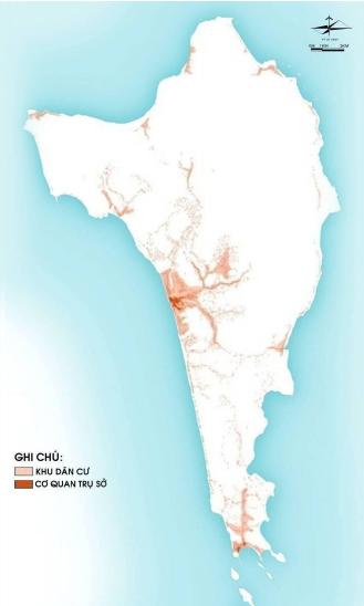 Vị trí các khu dân cư hiện hữu trên đảo. Nguồn: Phân Viện QH Miền Nam & WTGA - Điều chỉnh Quy hoạch Chung Xây dựng Đảo Phú Quốc tới năm 2030