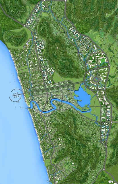 Minh họa quy hoạch thị trấn Dương Đông. Nguồn: Phân Viện QH Miền Nam & WTGA - Điều chỉnh Quy hoạch Chung Xây dựng Đảo Phú Quốc tới năm 2030