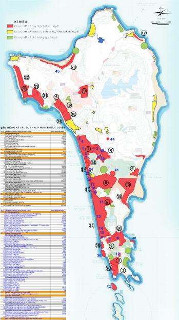 Vị trí các quy hoạch đã phê duyệt. Nguồn: Phân Viện QH Miền Nam & WTGA - Điều chỉnh Quy hoạch Chung Xây dựng Đảo Phú Quốc tới năm 2030