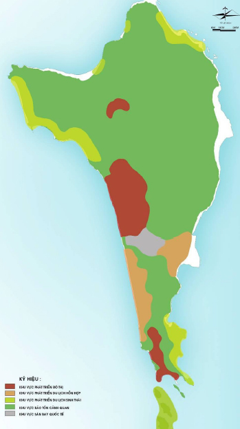 Phân vùng chức năng. Nguồn: Phân Viện QH Miền Nam & WTGA - Điều chỉnh Quy hoạch Chung Xây dựng Đảo Phú Quốc tới năm 2030