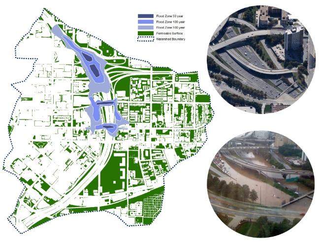 [Trái] Ranh giới khu vực ngập nước theo tần suất 50 năm, 100 năm và 500 năm; [Phải] Giao điểm giữa đường cao tốc I75/85 và I20 trong điều kiện bình thường và khi ngập lụt vào tháng 11/2010.