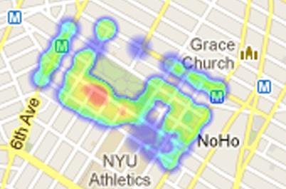 Cường độ âm thanh khu vực trường Đại học New York. Nguồn: http://www.arch.columbia.edu/studio-x-global