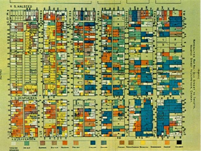 Hình 8: Bản đồ thể hiện mức độ tập trung các nhóm dân nhập cư khác nhau (thông qua ngôn ngữ) trong một khu dân cư lao động nghèo ở Chicago do Jane Addams thực hiện. Nguồn: coral.uchicago.edu