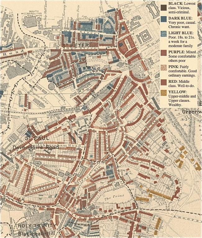 Hình 7: Một góc bản đồ khảo sát mức sống tại London do Charles Booth thực hiện vào cuối thế kỷ 19. Nguồn: booth.lse.ac.uk