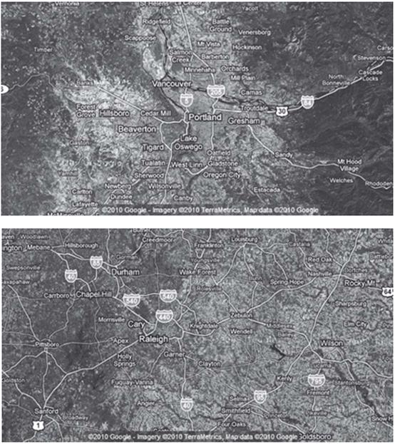 Hình 35.2: Hình chụp vệ tinh khu vực Portland (a) và Raleigh (b). Nguồn: www.maps.google.com