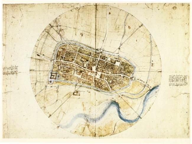 Hình 1: Bản vẽ khảo sát thị trấn Imola của Leonardo de Vinci vào năm 1502. Nguồn: Royal Library at Windsor, UK