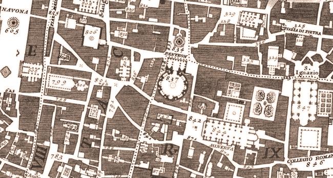 Hình 4: Một bản phóng lớn của bản đồ Nolli diễn tả khu vực đền Pantheon (837). Nguồn: landlab.wordpress.com
