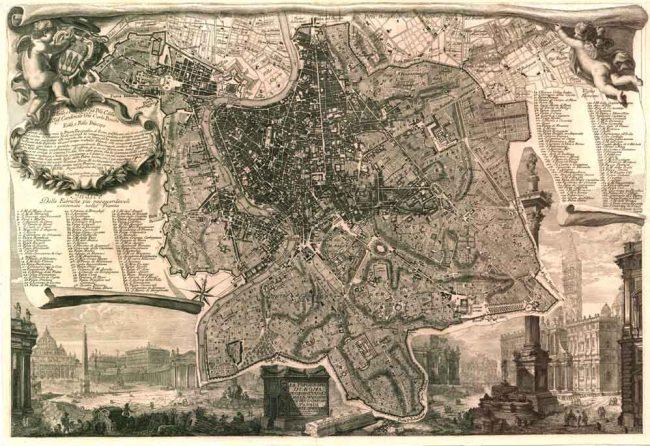 Hình 3: Bản đồ thành Rome của Giambattista Nolli hoàn thành vào năm 1748. Nguồn: Wikipedia.org