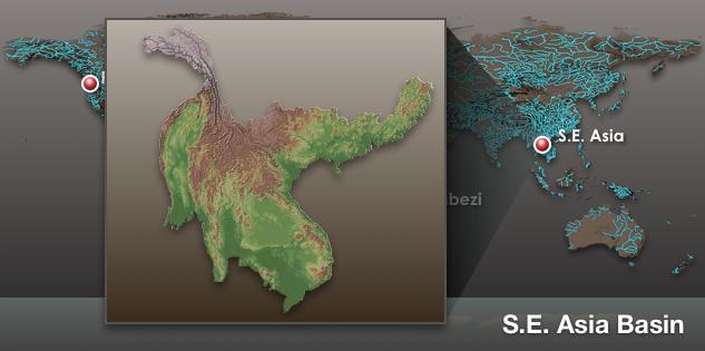 Ảnh vệ tinh lưu vực sông Mekong. Nguồn: Virtual Mekong Basin project/University of Washington