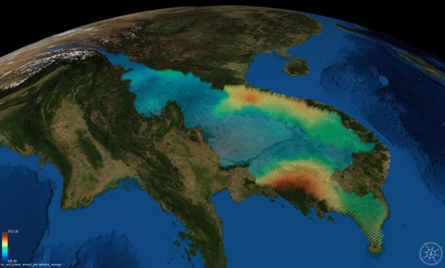 Phân bố lượng mưa trong vùng. Nguồn: Virtual Mekong Basin project/University of Washington