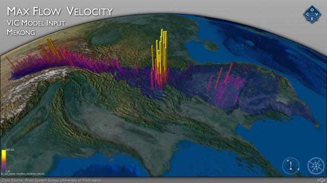 Vận tốc dòng chảy cực đại. Nguồn: Virtual Mekong Basin project/University of Washington