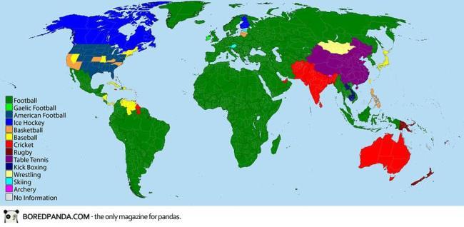 """Môn thể thao """"vua"""" ở mỗi quốc gia."""