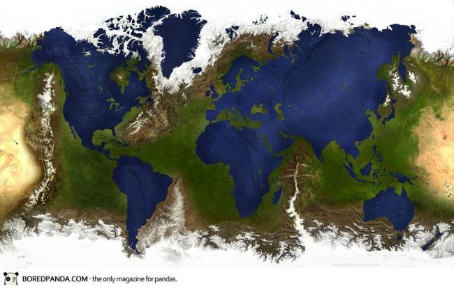 Bản đồ thế giới khi các lục địa chìm nghỉm và các đại dương dâng lên thành núi đồi.