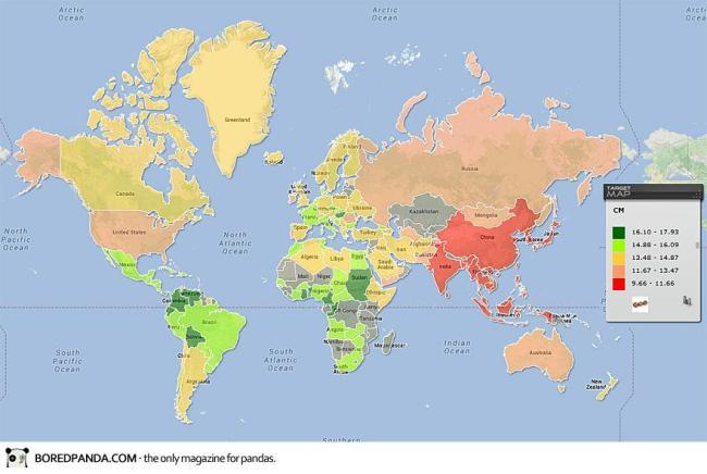 Bản đồ kích thước dương vật trung bình của mỗi quốc gia.
