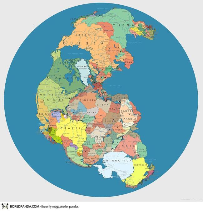 """Bản đồ thế giới ở kỷ Pangea, 200-300 triệu năm trước. Pangaea (từ tiếng Hy Lạp, có nghĩa là """"toàn bộ đất đai"""") được Bách khoa Toàn thư Việt Nam gọi là Toàn Lục Địa hay Toàn Đại Lục, là siêu lục địa đã từng tồn tại trong đại Trung Sinh (Mesozoic) thuộc liên đại Hiển Sinh, trước khi quá trình trôi dạt lục địa tách nó ra thành các lục địa."""