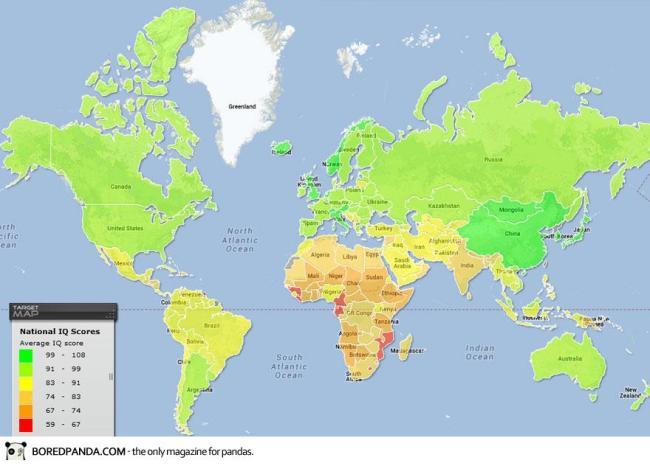 Bản đồ chí số IQ trung bình của mỗi quốc gia.