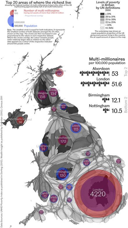 Bản đồ phân bố của những người có tài sản trên 30 triệu Bảng tại nước Anh.