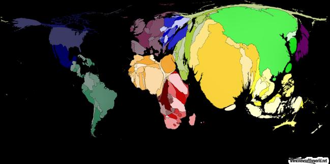 Bản đồ thế giới với hình dạng các quốc gia bị điều chỉnh theo tỷ lệ quy mô dân số.