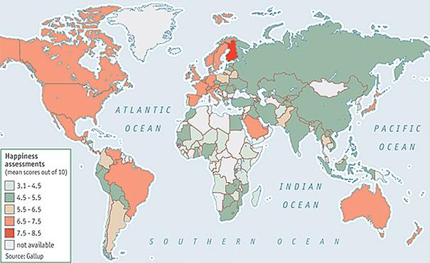 Bản đồ chỉ số hạnh phúc của từng quốc gia.