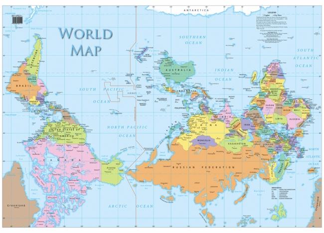 """Bản đồ thế giới khi định nghĩa """"Bắc - Nam"""" thay đổi."""