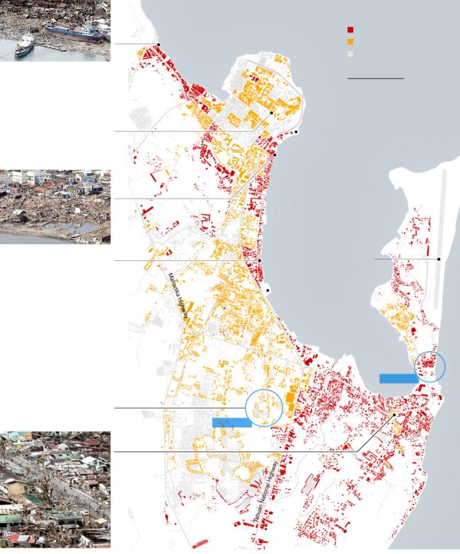 Bản đồ thể hiện mức độ tàn phá của bão Hải Yến tại Tacloban. Màu đỏ thể hiện các công trình bị phá hủy hoàn toàn, màu vàng bị hỏng hóc nặng nề và màu xám là các công trình bị ít tác động hơn hoặc không có thông tin. Nguồn: New York Times