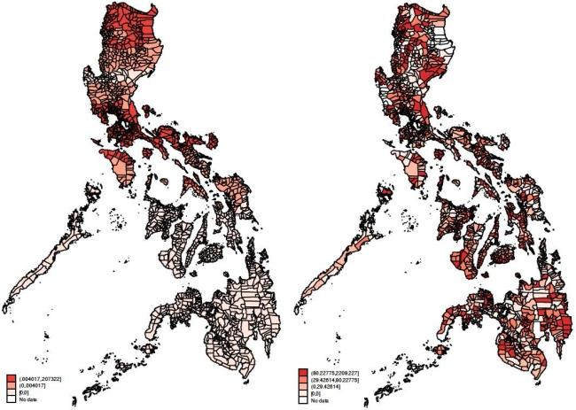 Bản đồ bên trái cho thấy những khu vực bị ảnh hưởng của bão từ năm 2001 đến năm 2010. Vùng có màu càng đỏ tức là càng chịu nhiều thiệt hại. Trong khi đó, bản đồ bên tay phải cho thấy sự phân phối những khu vực nhận được nhiều ngân sách nhất cho công cuộc tái thiết sau bão. Bên cạnh thiên tai, một trong những vấn đề của Philippines là chính phủ yêu kém, tham nhũng và những cuộc đấu đá chính trị nội bộ khiến các quyết định hỗ trợ thiên tai bị méo mó. Nguồn:  James Atkinson, Allen Hicken and Nico Ravanilla