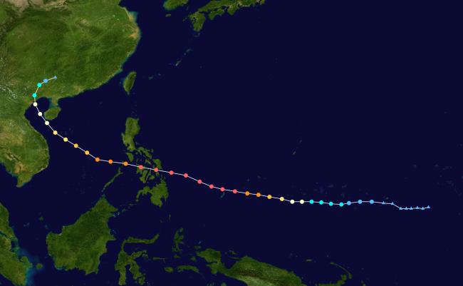 Đường đi thực tế của bão Hải Yến. Bão ập vào Việt Nam ở vùng Quảng Ninh trước khi di chuyển sang Trung Quốc. Nguồn: Keith Edkins