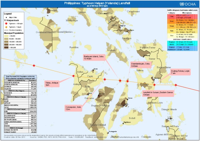 Bản đồ thể hiện mật độ dân số tại khu vực bị ảnh hưởng. Những vùng màu nâu đen có quy mô dân số tới 1 triệu người như khu vực thành phố Tacloban và Cebu - đây là những nơi mà công cuộc cứu trợ và tái thiết cần tập trung. Nguồn: Văn phòng Liên hiệp Quốc về các vấn đề nhân đạo.