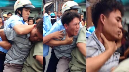 Hình ảnh cho thấy anh Tình bị những người của tổ công tác hành hung. Nguồn: Dantri.com.vn