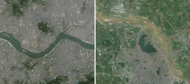 Sông Hàn chảy qua Seoul (bìa trái) và sông Hồng chảy qua Hà Nội có cùng bề rộng nhưng khác nhau về chế độ thủy văn.