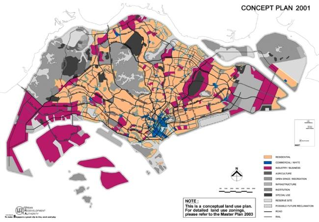 Bản quy hoạch chiến lược năm 2001 (điều chỉnh 10 năm/lần với mục tiêu xác định chương trình phát triển dài hạn từ 30-50 năm) cho thấy đất công nghiệp/doanh nghiệp (màu tím) và đất thương mại được phân phối đều khắp Singapore để mang việc làm đến gần người dân hơn. Tuy nhiên, công nghiệp nặng sẽ được tập trung ở phía Tây Nam (riêng công nghiệp lọc dầu và hóa chất thì tập trung trên các đảo để tránh rủi ro cháy nổ) và trung tâm tài chính tập trung ở xung quanh vịnh Marina tại trung tâm thành phố.