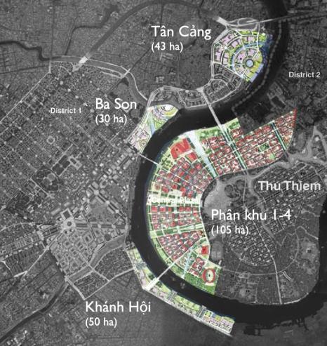 Các khu vực mở ra cho phát triển mới hai bên bờ sông Sài Gòn. Nguồn: Sasaki Associates (2012)