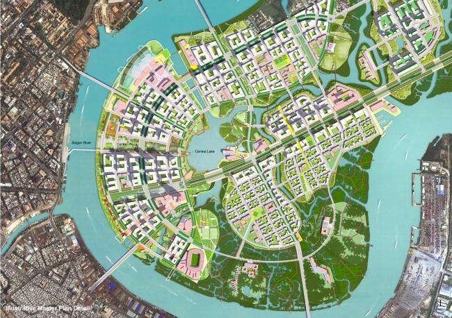 Mặt bằng minh họa cho đồ án quy hoạch Thủ Thiêm năm 2012. Nguồn: Sasaki Associates (2012).