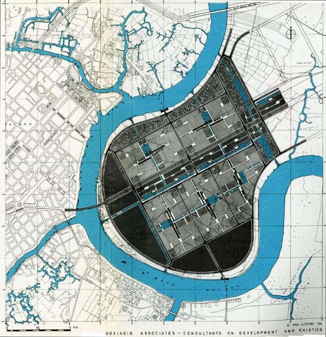 Thiế kế khu đô mới Thủ Thiêm của công ty tư vấn Doxiadis Associates. Nguồn: Doxiadis Associates (1965)