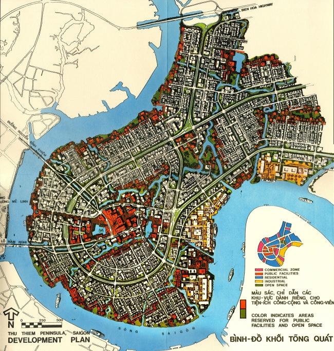 Bản vẽ minh họa mặt bằng trong đồ án quy hoạch Thủ Thiêm năm 1972. Nguồn: Wurster, Bernadi and Emmons Architects and Planners (1972).