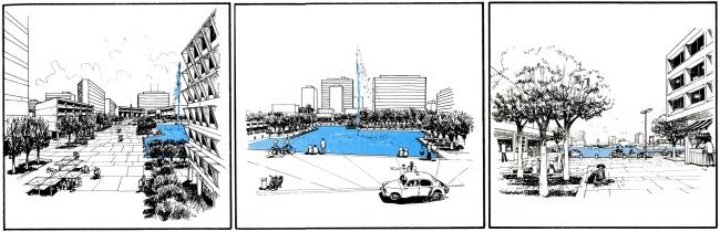 Phối cảnh của đồ án quy hoạch phát triển Thủ Thiêm năm 1972 (từ trái qua phải): Trung-tâm Chánh-Quyền, Trung-tâm Văn-hóa Giáo-dục và Khu Chợ búa. Nguồn: Wurster, Bernadi and Emmons Architects and Planners (1972).