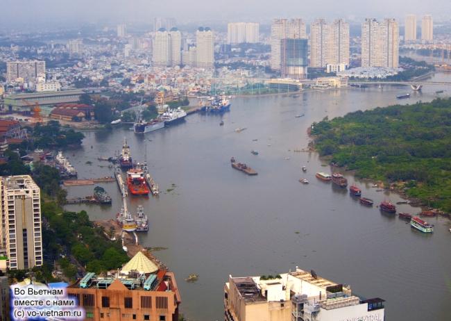 Sông Sài Gòn đoạn chảy qua trung tâm Tp. HCM và bán đảo Thủ Thiêm hôm nay.