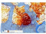 Khu vực có cao độ dưới 1.5m (phần màu xanh) sẽ đối mặt với rủi ro ngập lụt cao
